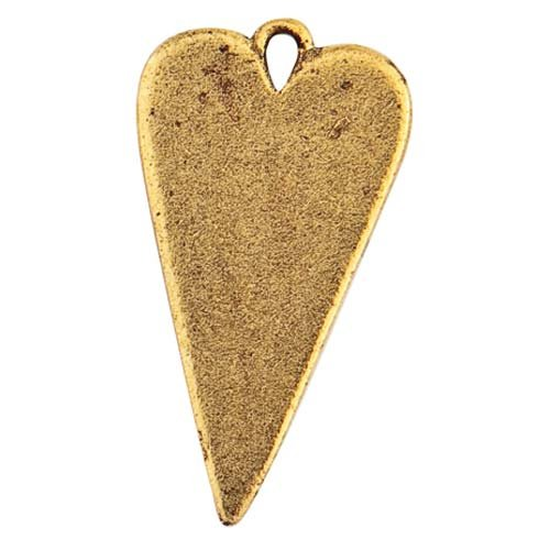 Metal Designs Nunn (Nunn Design Gold Plated Blank Elongated Heart Pendant 27mm)
