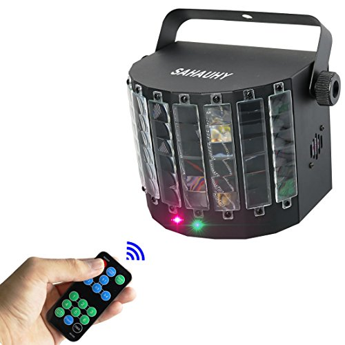 DJ Party Lights,SAHAUHY 2 in 1 Professional DMX 512 LED Strobe Lights Stage Lights with Remote Control (LED+ Laser Lights)