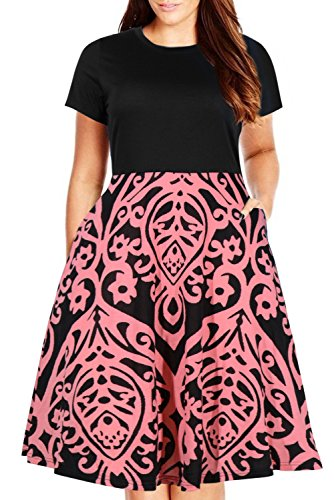 Nemidor Women's Round Neck Summer Casual Plus Size Fit and Flare Midi Dress with Pocket (155PinkPrint, 24W)