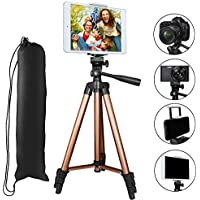 Tripod Compatible iPad iPhone,PEYOU 50 inch Portable Lightweight Aluminum Phone Camera Tablet Tripod + 2 in 1 Universal Mount Holder Compatible Smartphone (Width 2-3.3),Tablet (Width 4.3-7.2)