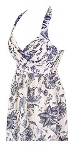 Lungo da Blue senza maniche Cream Flowers Halterneck con stampa Gown sera Empire abito Print with grSwgq