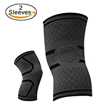 Knee Brace Compression Knee Support Sleeve (One Pair) for Running, Sports, Joint Pain Relief, Arthritis and Injury Recovery and More - 3 Size in 5 Colors