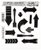 Stampers Anonymous Tim Holtz Cling Rubber Stamp Set, 7-Inch by 8.5-Inch, Here and There