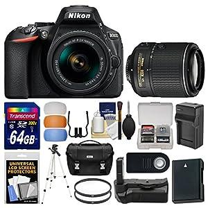 Nikon D5600 Wi-Fi Digital SLR Camera & 18-55mm VR DX AF-P with 55-200mm VR Lens + 64GB Card + Case + Battery & Charger + Grip + Tripod + Filters Kit