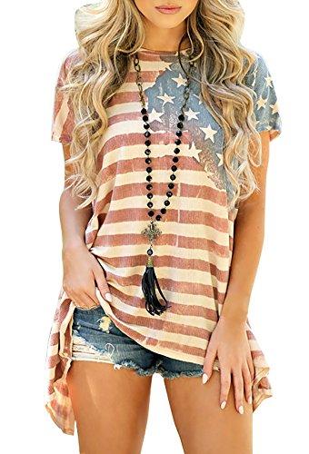 Farktop-Womens-Patriotic-American-Flag-Printed-Asymmetric-Short-Sleeve-Tunic-Dress-S-3XL