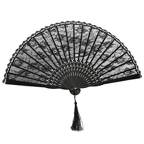 OULII Hand Fan Paper Fans Wedding Fans for Party Favor Fancy Dress (Black)]()