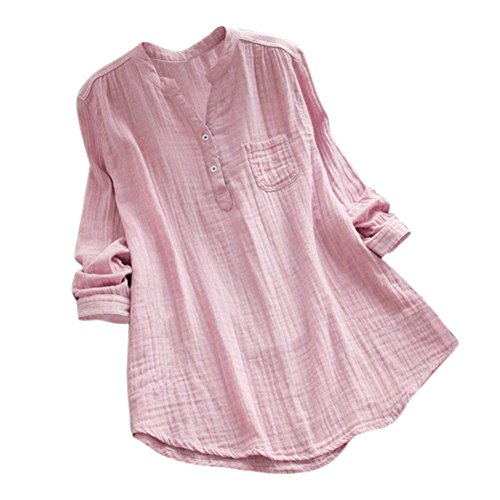 Summer Tops Shirts,Women Casual Loose T-Shirt Plus Size Long Sleeve Blouse Cotton Linen Tops Tee [On sale] (Collar-Pink, 3XL/US 18)