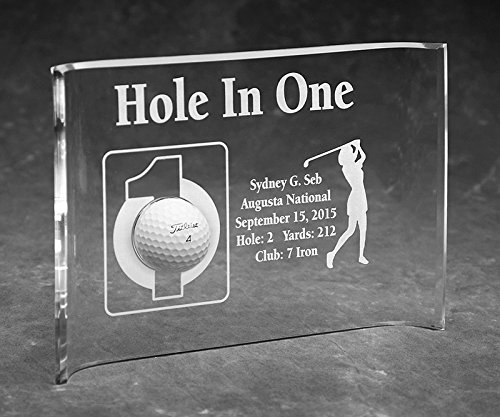 Hole-In-One Golfer Laser Etched 7x10 Acrylic Crescent - Golf Awards Etched