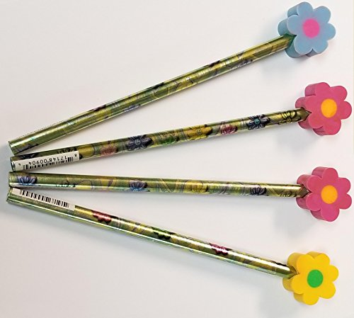 Flower Design Pencils With Flower Shaped Eraser Toppers 12 Units - Science Project Pencils Great Gift For Students