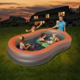 H2OGO! Spacious & Sturdy Doodle Glow Color Wave Family Pool With Battery Operated LED Lights That Change Between 6 Different Colors, 54136E