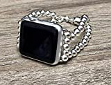 925 Sterling Silver Bracelet For Apple Watch All Series 38mm 40mm 42mm 44mm Handmade 6mm Luxury Beads Apple iWatch Band Safety Chain Dual Clasp Unique Design Adjustable Size Fashion Wristband
