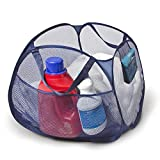 Smart Design Deluxe Mesh Pop Up Square Laundry Hamper w/Side Pockets & Handles - Durable Fabric Collapsible Design - for Clothes & Laundry - Home - (Holds 2 Loads) (17 x 14 Inch) [Blue]