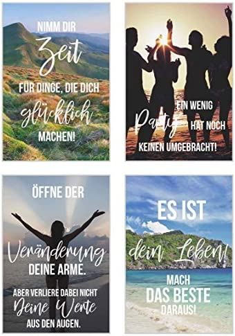 Edition Seidel Set 25 Postkarten Leben & Momente mit Sprüchen - Karten mit Spruch - Geschenk - Dekoidee, Liebe, Freundschaft, Leben, Motivation, Geburtstagskarten Bilder Bild Poster