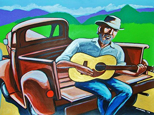 jj-cale-print-poster-martin-d-guitar-country-tulsa-sound-album-ford-pick-up-truck-cd-the-road-to-esc