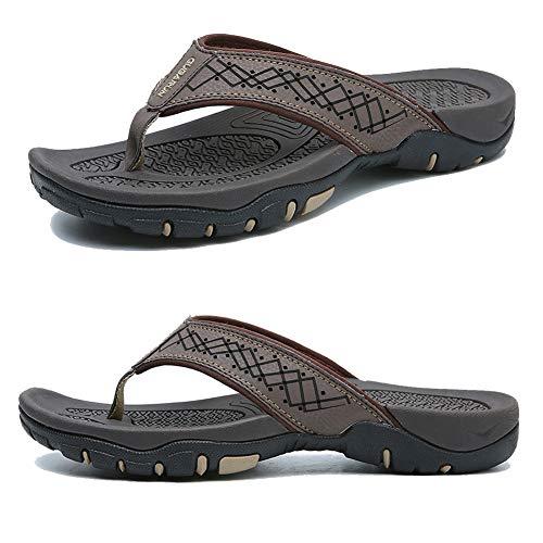 (KIIU Comfortable Flip Flop Slippers for Men Casual Sandals Beach Outdoor Shoes(45,Brown))