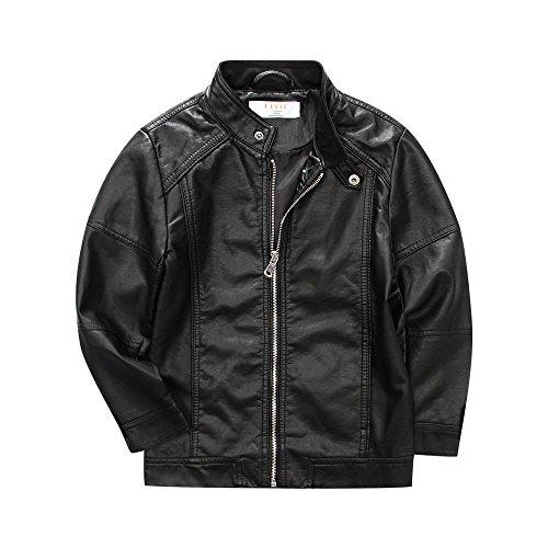 LJYH Boy's Trendy Stand-Collar Faux Leather Moto Jacket Zip Coat Black