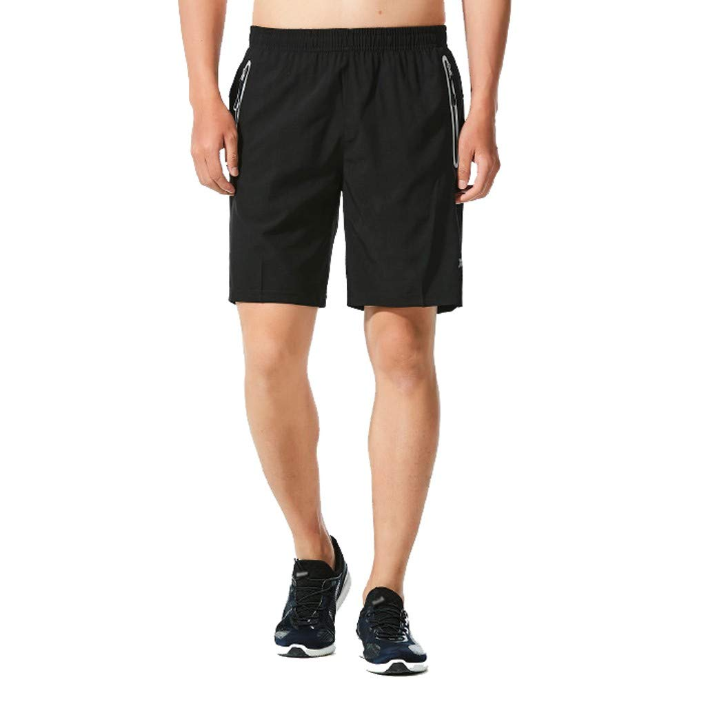 WUAI Mens Shorts Summer Beach Dress Quick Dry Solid Beach Shorts Swim Trunks Plus Size L-6XL(Black,US Size 4XL = Tag 5XL)