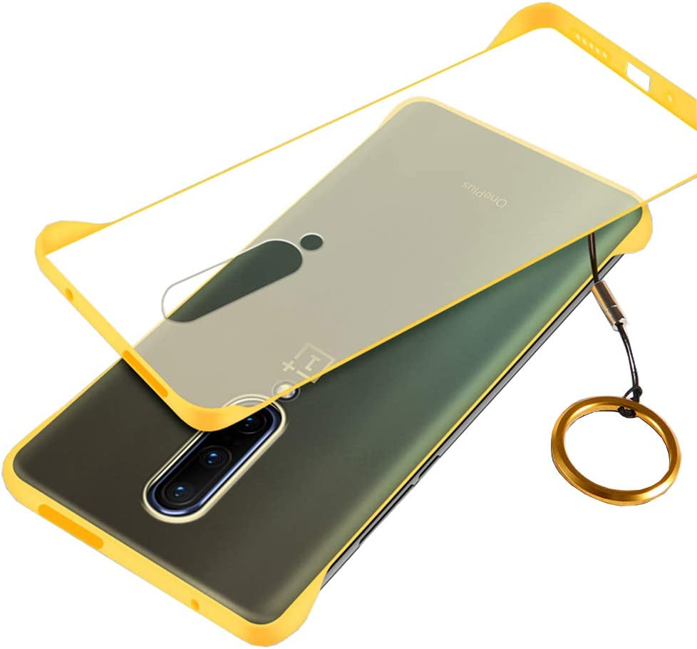 Compatible with Oneplus 7 pro Case,ASONRL Clear Frameless Matte Hard PC Slim Shock Absorption TPU Bumper with Non-Slip Surface Rope Pull Ring Case (Yellow)
