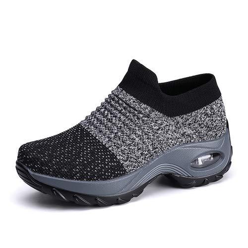 aeepd Women's Walking Shoes Slip On Mesh Fashion Dance Sneakers Comfort Wedge Platform Loafers Grey