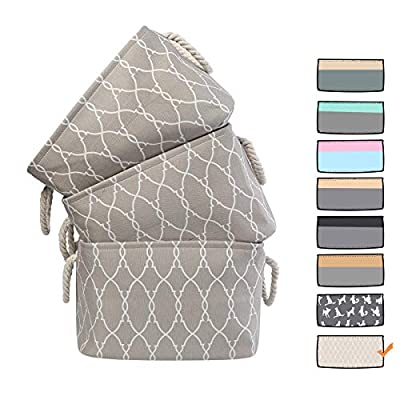 3 Pack Large Storage Shelf Basket Set Big Rectangular Linens Fabric Collapsible Organizer Bin Laundry Hampers Baskets (Pattern) - ◆ 3 Pack - 3 pack storage basket combinations, enough for daily use, size 15 (L) * 10.5 (W) * 9.5 (H) inches ◆ Material - The exterior is made of cotton and linen material, and the special lining protects the item from damage ◆ Design - Beige fabric with a mesh pattern, it is suitable for matching with various places, and the thick handle is durable - living-room-decor, living-room, baskets-storage - 51cs8lC riL. SS400  -