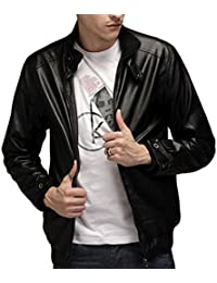 Men's Vintage Stand Collar Thick Leather Jackets