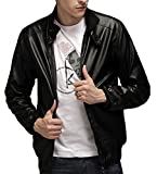Generic Men's Vintage Stand Collar Thick Leather Jackets Black XL
