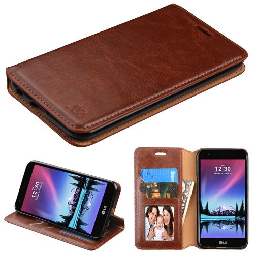 LG K20 Plus/V5 Case, Mybat Stand Folio Flip Leather [Card Slot] Wallet Flap Pouch Case Cover For LG K20 Plus/V5, Brown 0.5' Wide Leather