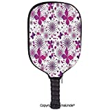 AmaUncle 3D Pickleball Paddle Racket Cover Case,Floral Patterns Life Cycle Caterpillar Larvae Winged Camouflage Characters Customized Racket Cover with Multi-Colored,Sports Accessories