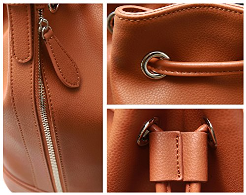 Strap For Shoulder Bag Crossbody Shoulder Purses Brown Kenoor Retro Leather Bucket Handbags Women Bag Bags Long with Drawstring 1AaFP