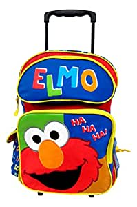 "Elmo Sesame Street Large 16"" Rolling Backpack Wheeled Book Bag"