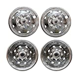 VioGi Fit 4pcs Front+Rear Polished Stainless Steel 16'' Dually 8 Lug 8 Hand Hole Wheel Simulators Hub Caps Skins Liners Covers w/ Installation Kits & Tools