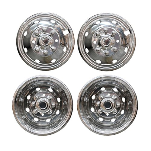 "VioletLisa 4pcs Front+Rear Polished Stainless Steel 16"" Dually 8 Lug 8 Hand Hole Wheel Simulators Hub Caps Skins Liners Covers w/Installation kits & tools"