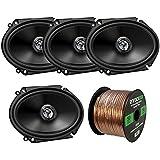 Car Speaker Package Of 4x (2 Pairs) JVC CS-DR6820 300-Watt 6x8 Inch 2-Way Vehicle Stereo Coaxial Speakers Bundle Combo With Enrock 50 Foot 16 Gauge Speaker Wire