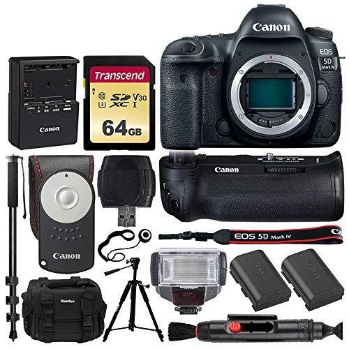 "Canon EOS 5D Mark IV Full Frame Digital SLR Camera Body + Canon Battery Grip BG-E20 + Canon Battery + Canon RC-6 Wireless Remote + 64GB Memory Card + TTL Flash + DC59 Case + 57"" Tripod + 72"" Monopod"