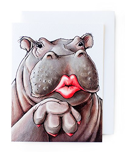Love Hippos (Hippo Premium Friend/Love Cards (great for Valentine's Day!) // 8-pack Matte Textured Cards with Felt Envelopes)