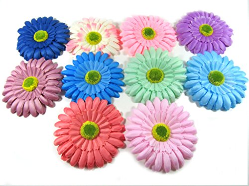 [Oliasports Spring Bling Gerber Daisy Flower Hair Clips (10 Flowers)] (Daisy Flower Headband Costume)