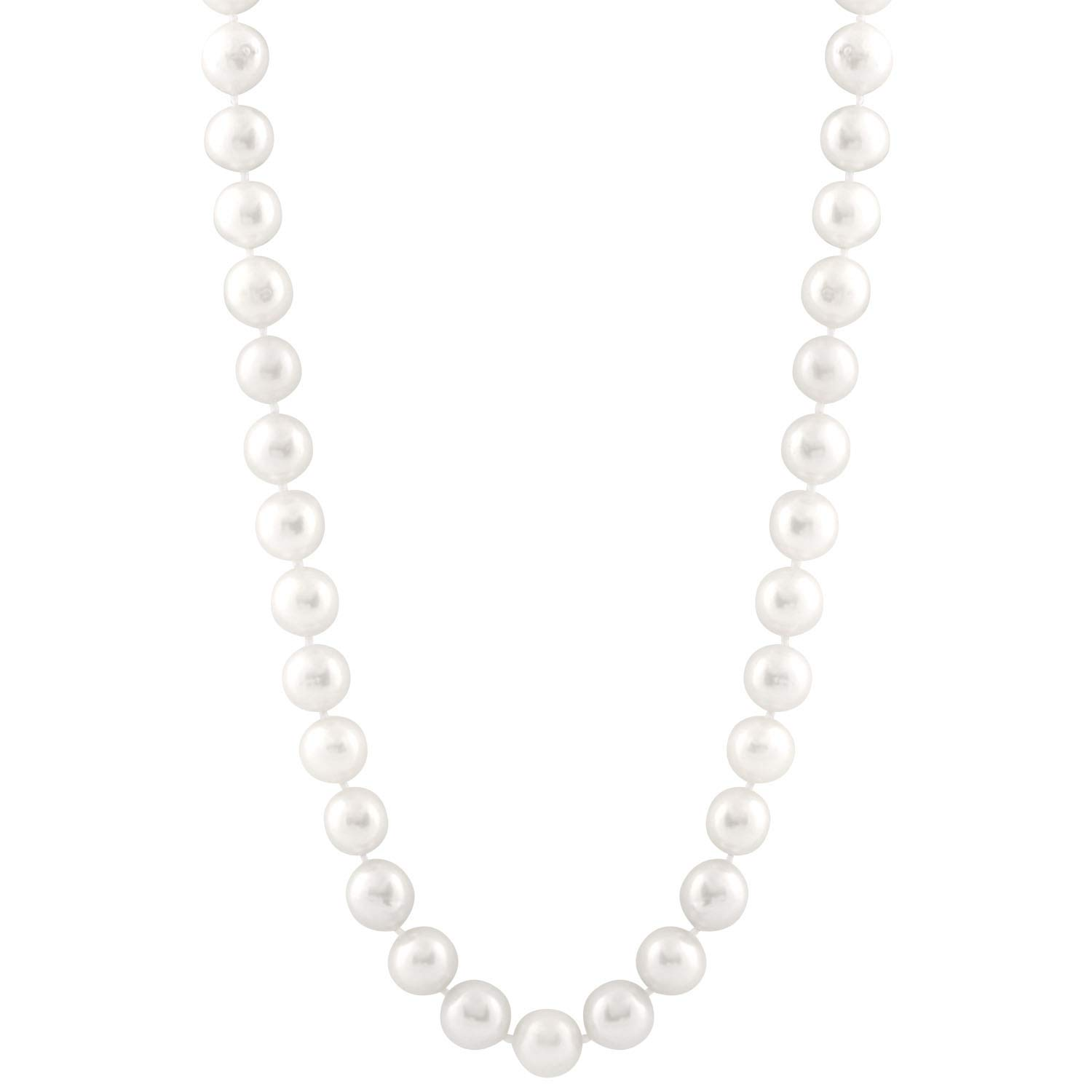 Handpicked AA Quality Nucleus 11-13mm White Freshwater Cultured Pearl Strand 18 Necklace 14K White Gold Clasp