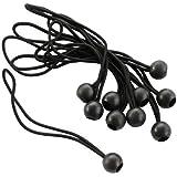 Ribitech Ribimex - Elástico con esfera para sujetar y tensar toldos con piquetas, rápida liberación, 10 unidades, color rojo y negro
