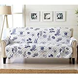 Coastal Reversible Stain Resistant Printed Furniture Protector. Perfect for Pets and Kids. Adjustable Elastic Straps Included. (Sofa, Catalina)