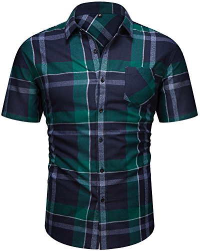 Men's Casual Cotton Collared Checked Short Sleeve Plaid Button Down Dress Shirt Green (Cotton Dress Chino)