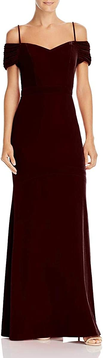 Laundry by Shelli Segal Women's Velvet Off The Shoulder A-Line Full Length Gown