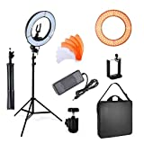 PHOTO MASTER 14 Inch Dimmable LED Camera Photo Video Ring Light and Light Stand Lighting Kit, Included Dimmable Ring Light,Tripod Stand,Diffuser,Phone Holder,Ball Head,Screw Adapter for YouTube