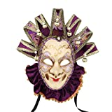 Joker Venice Mask Souvenir Velvet Mask Hand Painted Purple Venice Mask Paper Venice Collectors Decor