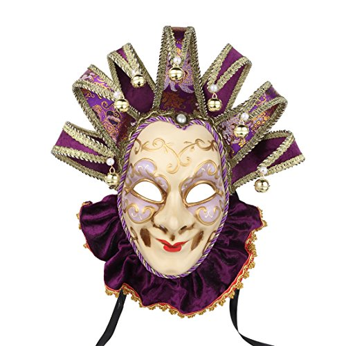 YUFENG Joker Venice Mask Souvenir Velvet Mask Hand Painted Purple Venice Mask Paper Venice Collectors Decor