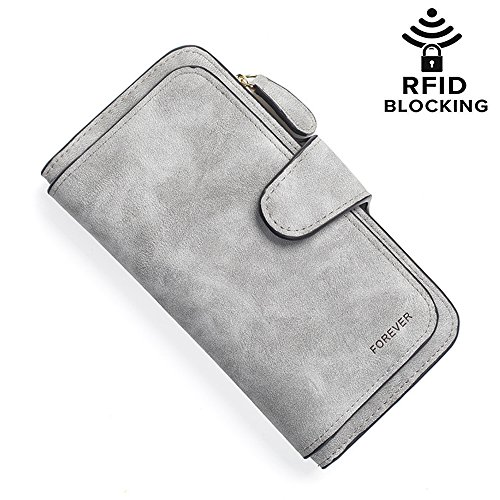 Hilinker RFID Blocking Leather Wallet Large Capacity Clutch Purse Checkbook Card Holder Organizer for Women Girls (Grey) by Hilinker