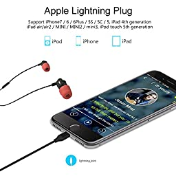 Apple MFI Certified New Bee Lightning Earphones with Microphone Volume Control for iPhone 7, Wired Stereo In Ear Earbuds Headphone Headset for iPhone 7 iPhone 7 Plus iPhone 6 + FREE Case
