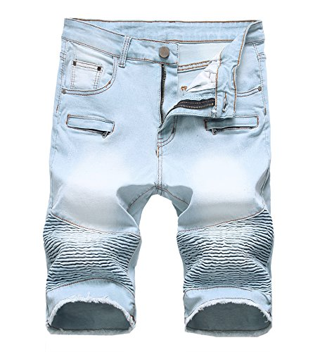 Enrica Mens Casual Ripped Destroyed Distressed Jeans Denim Shorts (38, Light Blue) ()