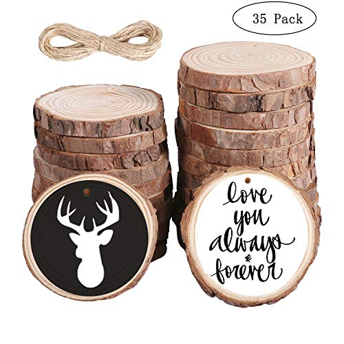 (35pcs Natural Unfinished Wood Slices with Bark 2.8''-3.2'' Craft Wood Kit Predrilled with Hole, Rustic Wooden Circles Rounds Great for Christmas Ornaments, DIY Crafts, Wedding Centrepiece )