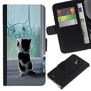 [Neutron-Star ] Modelo colorido cuero de la carpeta del tirón del caso cubierta de piel Holster Funda de protecció Samsung Galaxy S4 Mini i9190 MINI VERSION! [Cute Funny Cat Kitten]