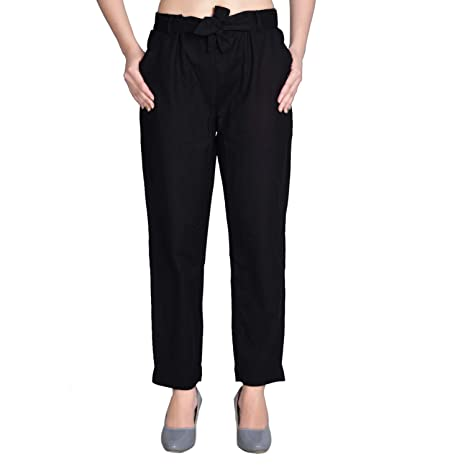Peach and Purple Regular Fit Women Black Cotton Blend Trousers